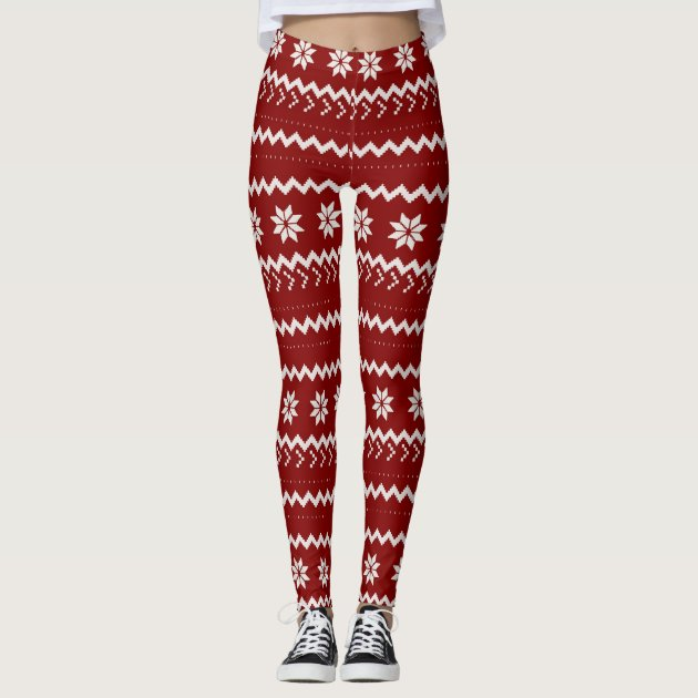 Holiday Red Fair Isle Leggings | Zazzle.com