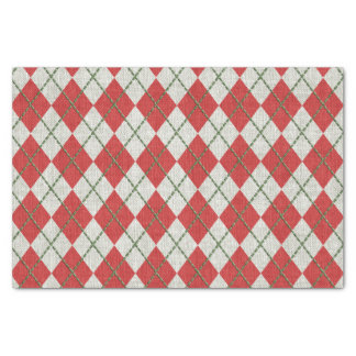 """Holiday Red Green Linen Argyle Pattern 10"""" X 15"""" Tissue Paper"""