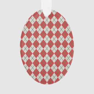 Holiday Red Green Linen Argyle Pattern
