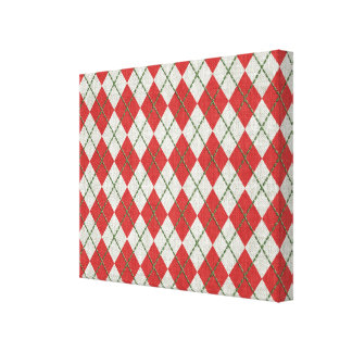 Holiday Red Green Linen Argyle Pattern Canvas Prints