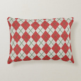 Holiday Red Green Linen Argyle Pattern Decorative Pillow