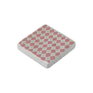 Holiday Red Green Linen Argyle Pattern Stone Magnet