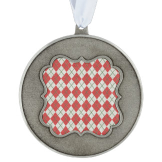 Holiday Red Green Linen Argyle Pattern Scalloped Pewter Ornament