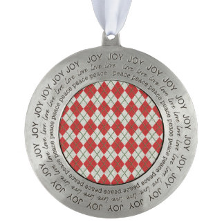 Holiday Red Green Linen Argyle Pattern Round Ornament