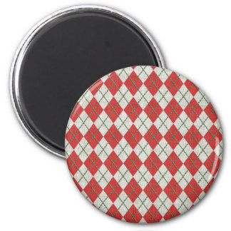 Holiday Red Green Linen Argyle Pattern Magnet