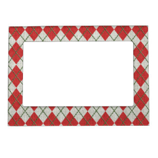 Holiday Red Green Linen Argyle Pattern Magnetic Picture Frames
