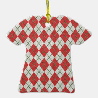 Holiday Red Green Linen Argyle Pattern Christmas Tree Ornament