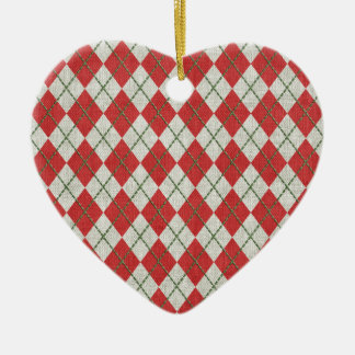 Holiday Red Green Linen Argyle Pattern Ornaments