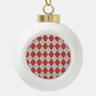 Holiday Red Green Linen Argyle Pattern Ornament