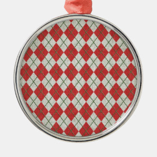 Holiday Red Green Linen Argyle Pattern Christmas Ornaments