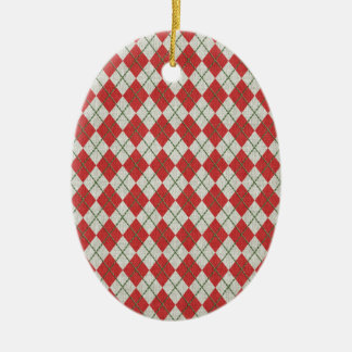 Holiday Red Green Linen Argyle Pattern Christmas Ornament