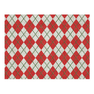 Holiday Red Green Linen Argyle Pattern Postcards