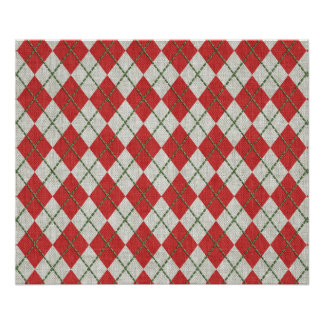 Holiday Red Green Linen Argyle Pattern Poster