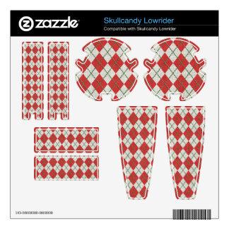 Holiday Red Green Linen Argyle Pattern Skullcandy Skins