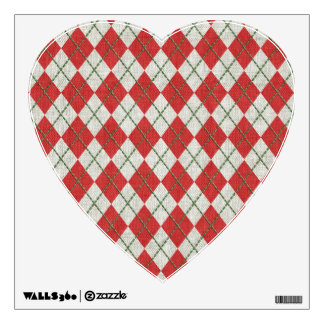 Holiday Red Green Linen Argyle Pattern Room Decals
