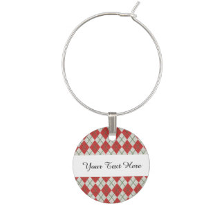 Holiday Red Green Linen Argyle Pattern Wine Glass Charm