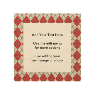 Holiday Red Green Linen Argyle Pattern Wood Prints