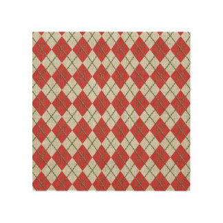 Holiday Red Green Linen Argyle Pattern Wood Canvases
