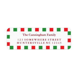 Holiday Red & Green Square Border Label