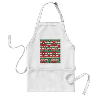 Holiday Red Green Stars Snowflakes Striped Pattern Adult Apron