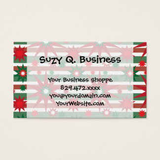 Holiday Red Green Stars Snowflakes Striped Pattern Business Card