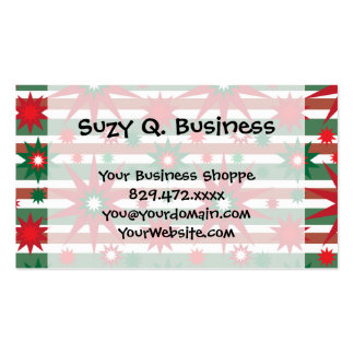 Holiday Red Green Stars Snowflakes Striped Pattern Business Card Templates