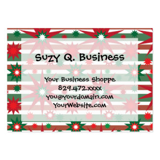 Holiday Red Green Stars Snowflakes Striped Pattern Large Business Card