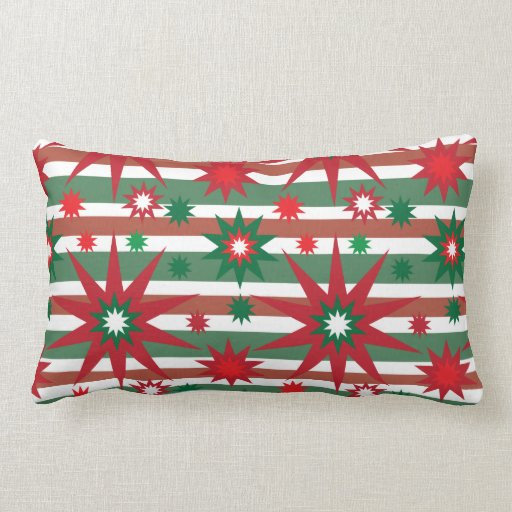 Holiday Red Green Stars Snowflakes Striped Pattern Throw Pillows