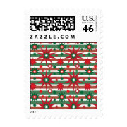 Holiday Red Green Stars Snowflakes Striped Pattern Postage Stamp