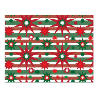 Holiday Red Green Stars Snowflakes Striped Pattern Postcard