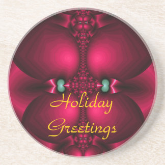 Holiday Red Holiday Greetings Coaster