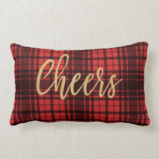 Holiday Red Plaid Cheers Lumbar Pillow