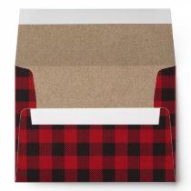 Holiday Red Plaid Tartan Kraft Envelope