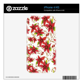 Holiday Red Poinsettia Christmas iPhone 4 4s Skin Skins For iPhone 4S