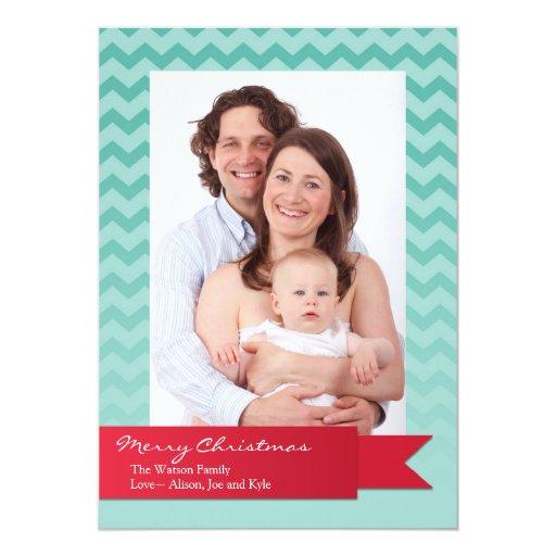 "Holiday red ribbon blue chevron zigzag photo card 5"" x 7"" invitation card"