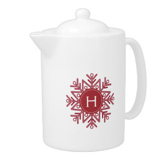 Holiday Red Snowflake Monogram Teapot
