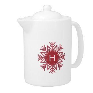 Holiday Red Snowflake Monogram Teapot