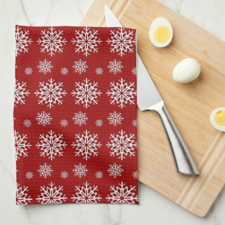 Holiday Red Snowflakes Hand Towel