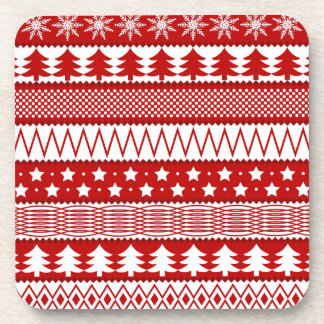 Holiday Red Stripes Pattern Coaster