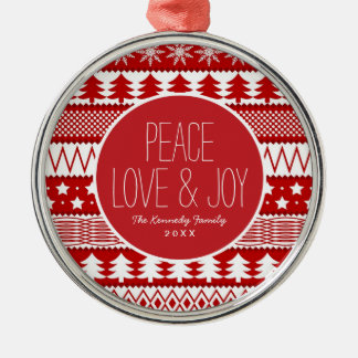 Holiday Red Stripes Pattern Metal Ornament