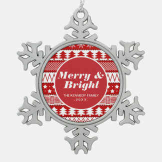 Holiday Red Stripes Pattern Snowflake Pewter Christmas Ornament