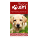 Holiday  Red & White Chevron Pet Photo Card