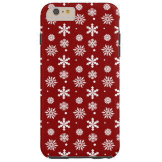 Holiday Red White Snowflakes Pattern 1 Tough iPhone 6 Plus Case