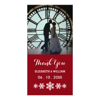 Holiday Red With Snowflakes Elegant Winter Wedding Card