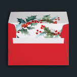 """Holiday Red With Watercolor Holly and Berries Envelope<br><div class=""""desc"""">A festive red envelope for the Christmas holiday season,  this design features watercolor sprigs of holly greenery with red berries on the inside flap. It adds a colorful pop to your invitations,  cards or other mailings during the holiday season.</div>"""