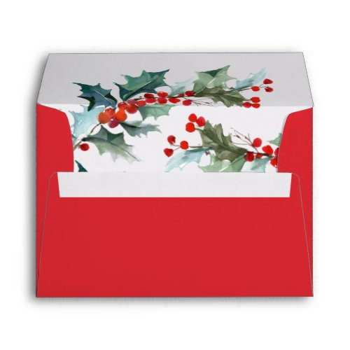 Holiday Red With Watercolor Holly and Berries Envelope