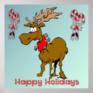 Holiday Reindeer Christmas Poster