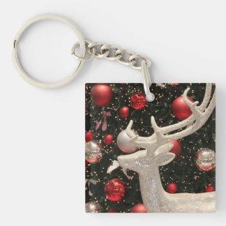 Holiday Reindeer Christmas Tree Ornaments Design Keychain