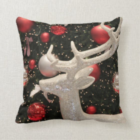 Holiday Reindeer Christmas Tree Ornaments Pillow