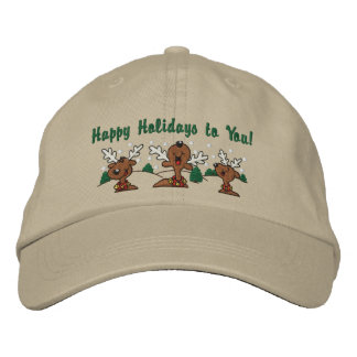Holiday Reindeer Greetings Embroidered Baseball Hat